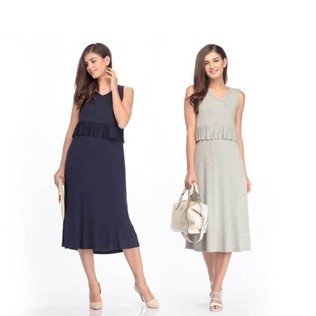 MOOIMOM Maternity & Nursing Ruffle Midi Long Dress 1