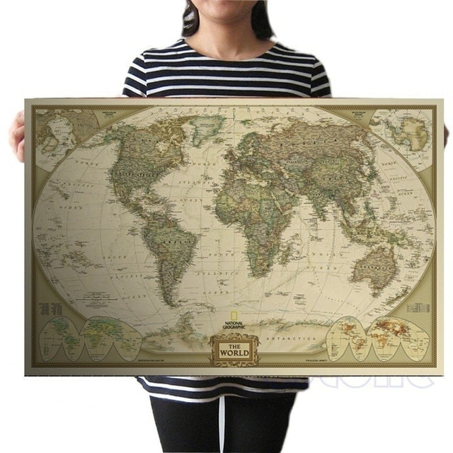 Vintage Style World Map Poster 1