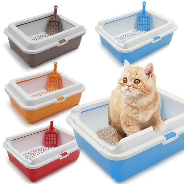 Double Layer Sifting Litter Tray Toilet Box with Scoop Set 1