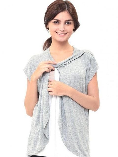 Mooimom  Maternity Nursing T-Shirt With Wrap Overlay  1