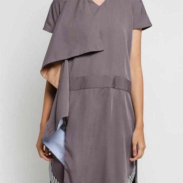 Oline Workrobe  Sided Layered Dress Grey Mix Blue 1
