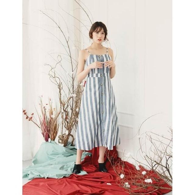 Yuan Market  Stripe Button Down Sun Dress 1
