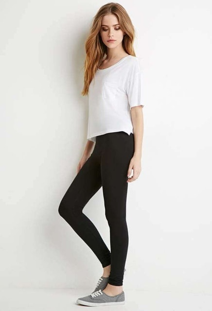Forever 21  Basic Cotton-Blend Leggings  1