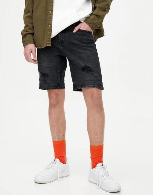 Pull & Bear  Basic Ripped Denim Bermuda Shorts  1