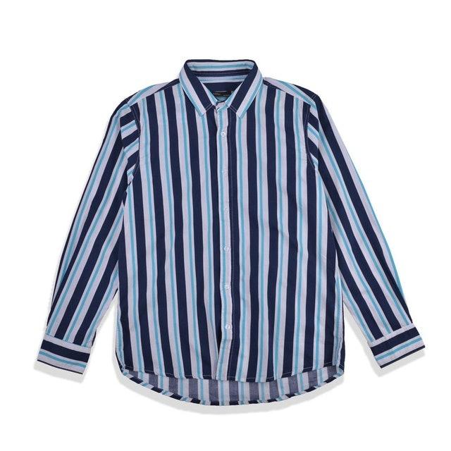GUTEN INC Andy Stripes Shirt Navy Green LS 1
