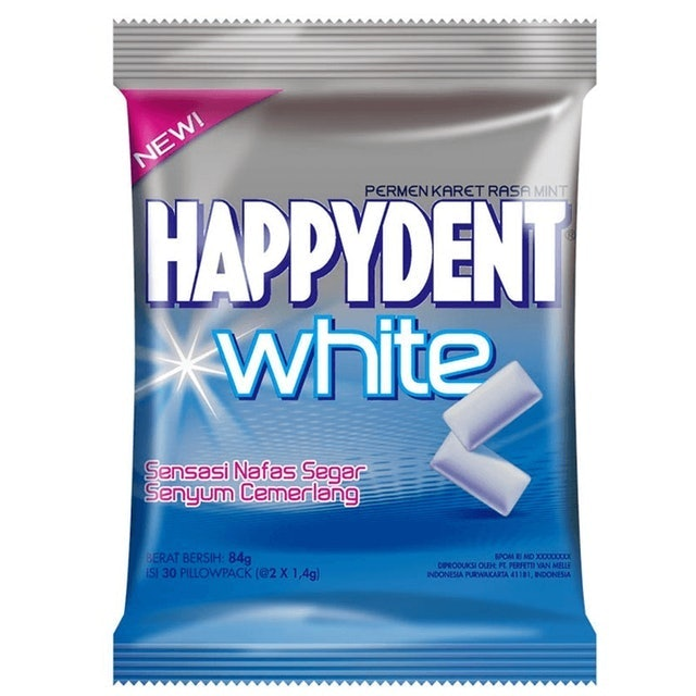 Perfetti Van Melle Happydent White Chewing Gum - Mint  1