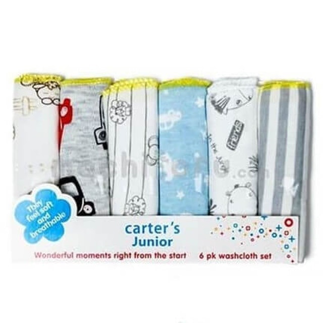 Carter's  Junior 6 Pack Washcloth Set 1