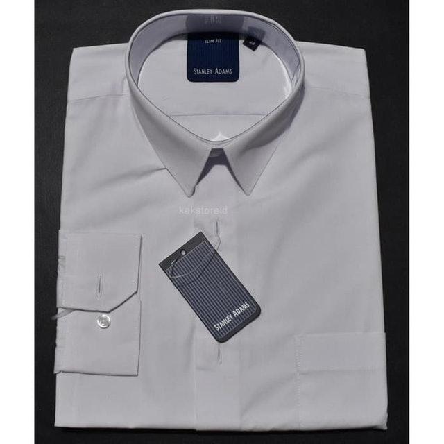 Stanley Adams White Men's Formal Long Sleeve Shirt  1