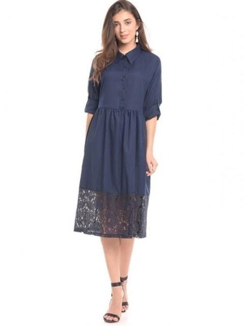 Mooimom  Navy Vest With Lace Detail Maternity & Nursing Long Dress  1