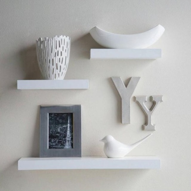 Set Floating Shelves - Putih [3 pcs/ 40 x 20 x 20 cm] 1