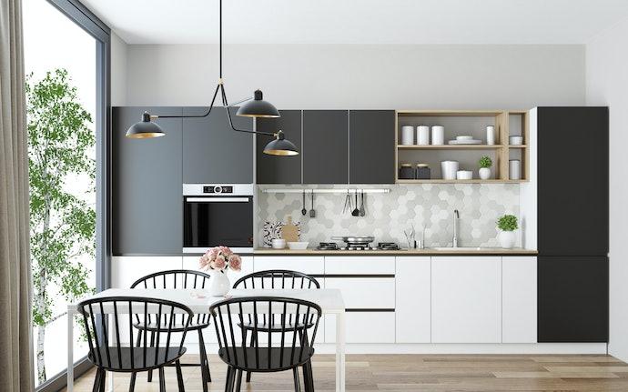 Pilih juga wallpaper dapur yang dapat digunakan untuk furnitur