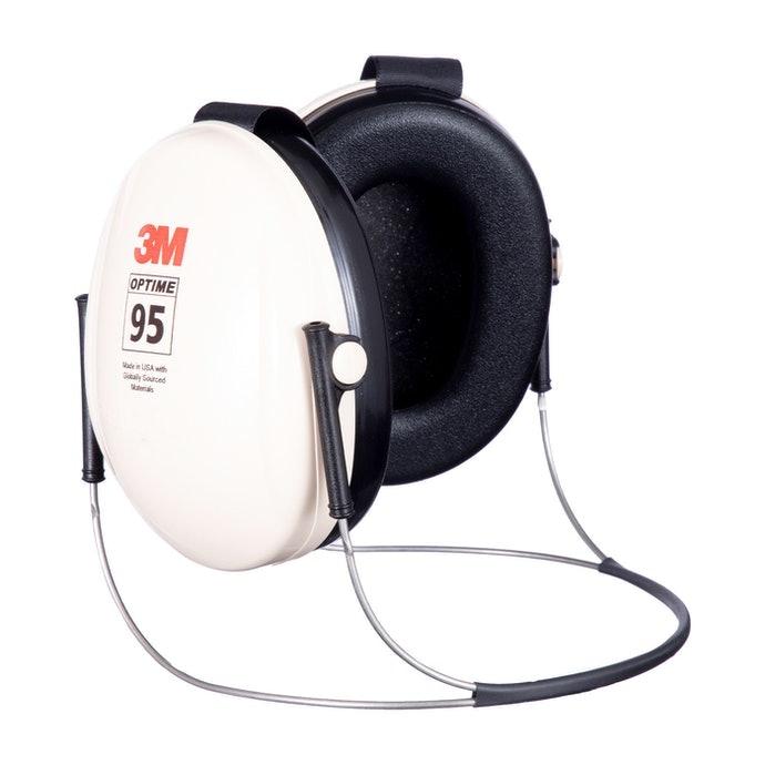 Earmuffs model neckband, dapat digunakan bersama helm atau topi
