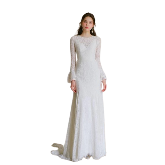 Lace long sleeve simple bridal gown 1