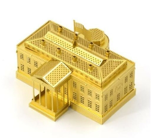 3D Metal Puzzle White House Gold 1