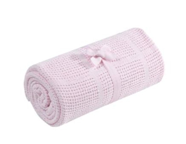 Mothercare Cot/Cot Bed Cellular Cotton Blanket - Pink 1