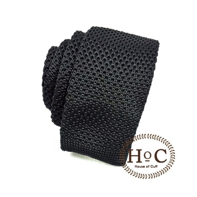 House of Cuff Knit Black Tie 1