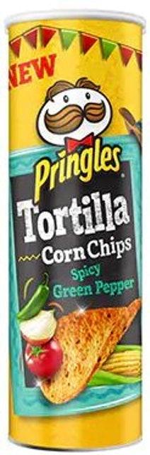 Kellogg's Pringles Tortilla Corn Chips Spicy Green Pepper 1