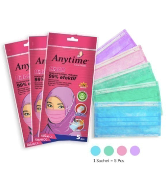 Deva Industries  Anytime Nano Guard 3-Ply Hijab Head Loop Surgical Face Mask 1