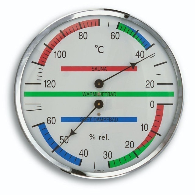 TFA-Dostmann Analogue Sauna Thermo-Hygrometer with Metal Ring 1