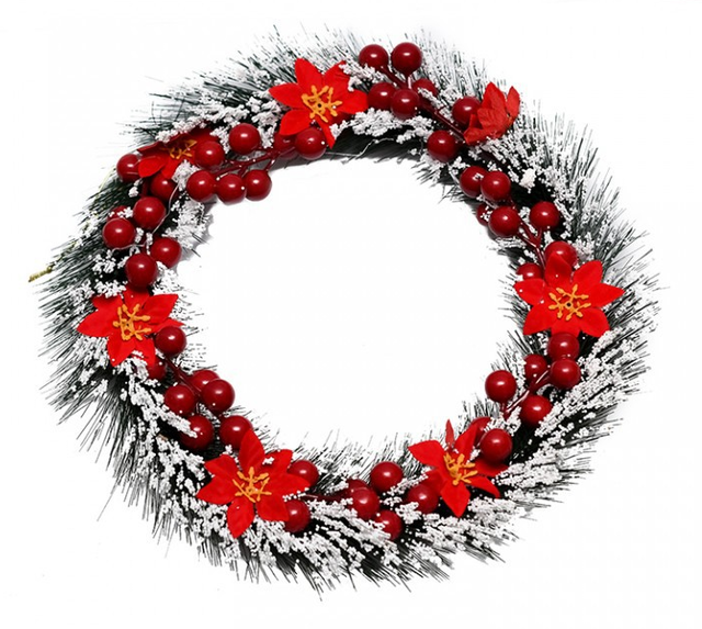 Hiasan Pintu Natal Salju Poinsettia 1