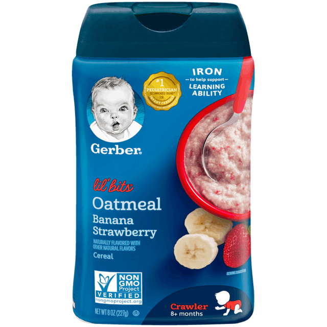 Gerber Lil' Bits Cereal Oatmeal Banana Strawberry 1