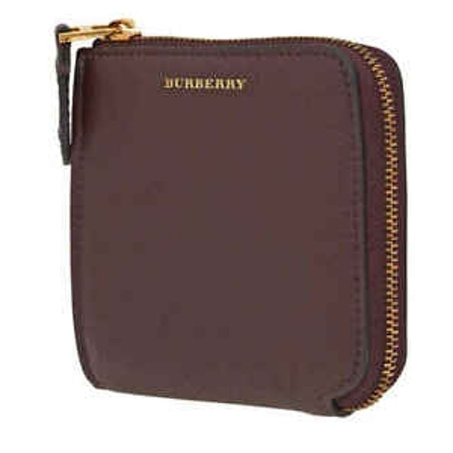 Burberry Grainy Leather Square Ziparound Wallet in Deep Claret  1