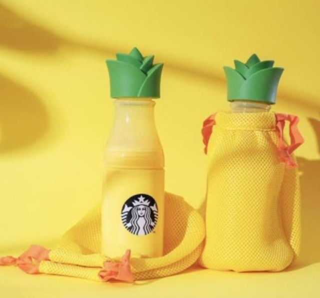 Starbucks Water Bottle 17oz Plastik Pineapple with Carrier Summer Seasonal 1