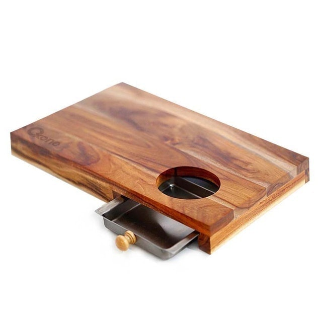 Oxone Wooden Chopping Board with Stainless Steel Tray 1