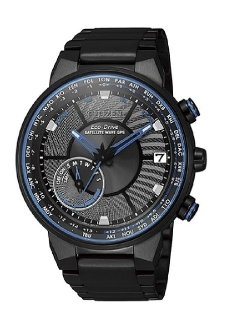 Citizen Eco-Drive Watch Black-Blue Combined Dial with Black Steel Strap 1