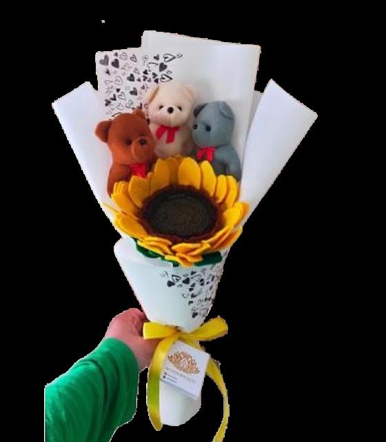 Hand Bouquet Bunga Matahari Plus Boneka 1
