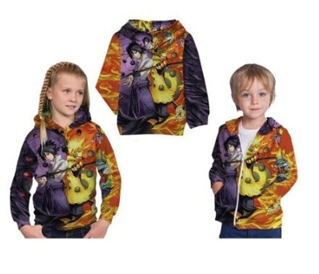 Jaket Anak Fullprint Naruto dan Sasuke 1