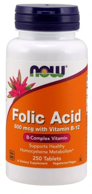 NOW Folic Acid 800 mcg with Vitamin B-12 Tablets 1