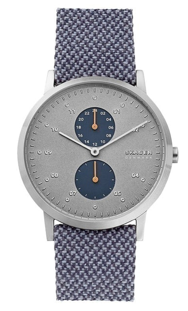 Skagen Kristoffer Blue Recycled Woven Men Grey Dial Dual Tone Leather Strap 1