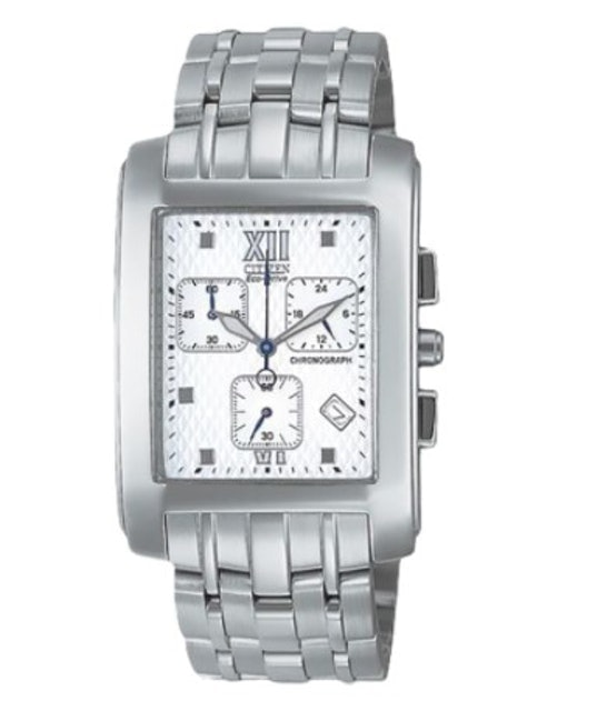 Citizen   Eco-Drive Men Chronograph White Dial Stainless Steel Watch 1
