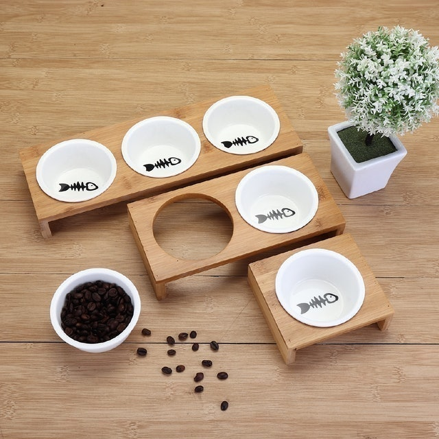 Pet Feeder Bowl Bamboo Ceramic Elevated Stand Dish  1
