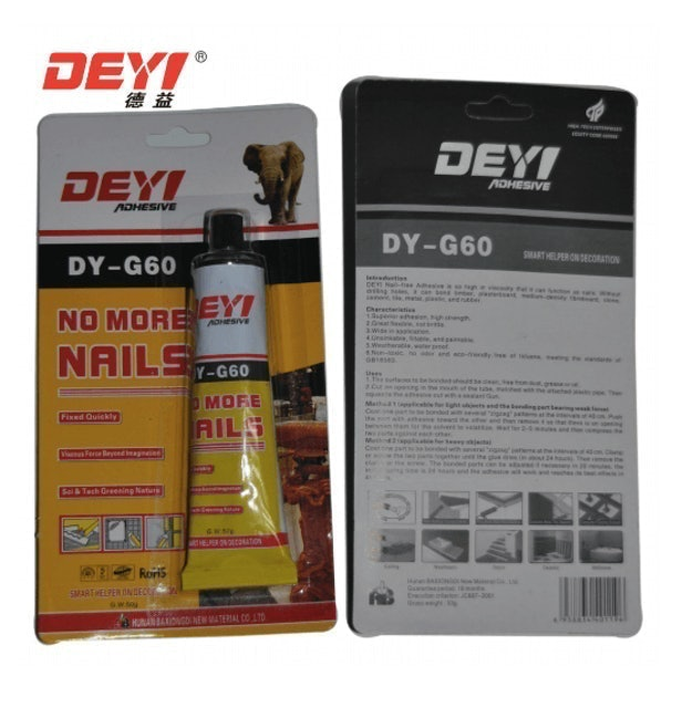 Changsha BAOXINGDI Adhesive Company., Ltd. Deyi Adhesive 50g Latest One-Component No More Nails 1