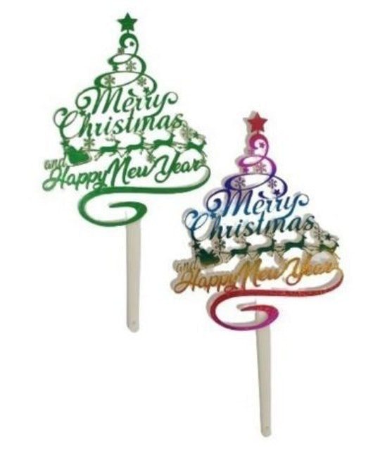 Cake Topper Merry Christmas & Happy New Year - Motif Pohon 1